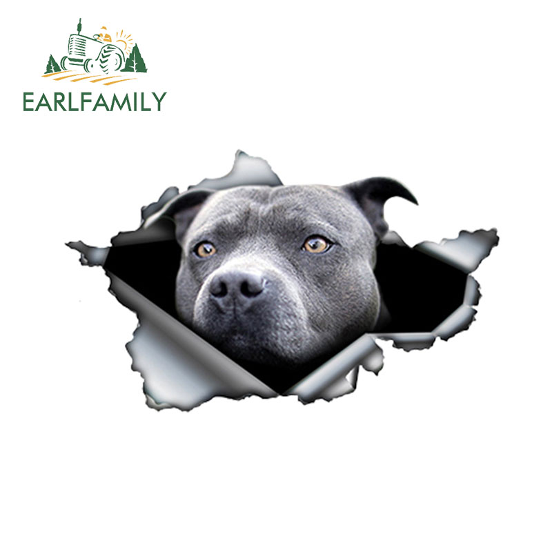 EARLFAMILY 13cm X 7.8cm Blue Pitbull Car Sticker Torn Metal Decal Reflective Stickers Waterproof Car Styling Pet Car Decoration