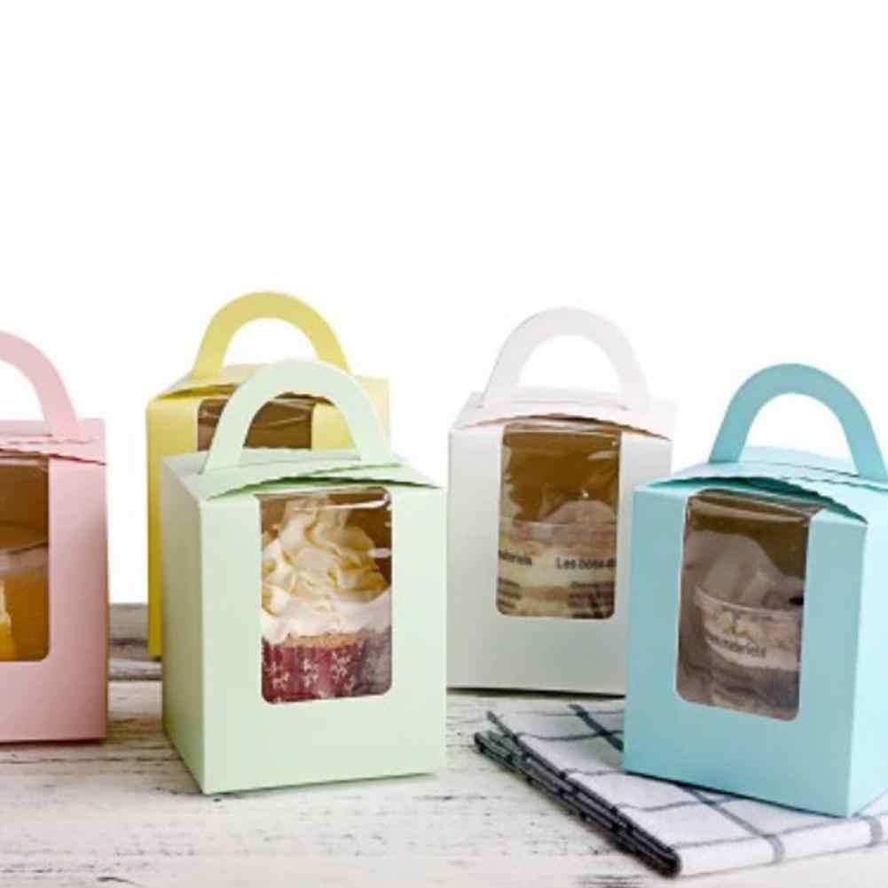 Neue 10Pcs Klar Fenster Einzigen Cupcake Dessert Lagerung Boxen Muffins Gebäck Behälter mit Griff