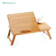 Регулируемый Бамбуковый стол для ноутбука и столик-поднос для кровати, полка для спальни, наклонная поверхность для компьютера, ноутбука, обучающего стола