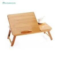 Mobilya'ten Dizüstü Bilg. Masaları'de Ayarlanabilir bambu dizüstü bilgisayar masası ve yatak tepsisi masa raf raf yurt devirme yüzey bilgisayar dizüstü kitap çalışma masası