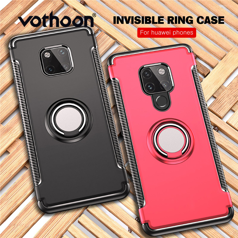 Vothoon Soft Shockproof Case For Huawei Mate 20 Pro 20X 20 Lite P20 P30 Pro Anti Knock PC Silicone Car Holder Ring Case Cover