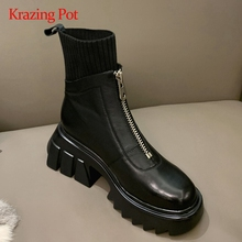 Knitting-Boots Platform Zipper-Decorations High-Heel Real-Leather Thick Fashion Patchwork