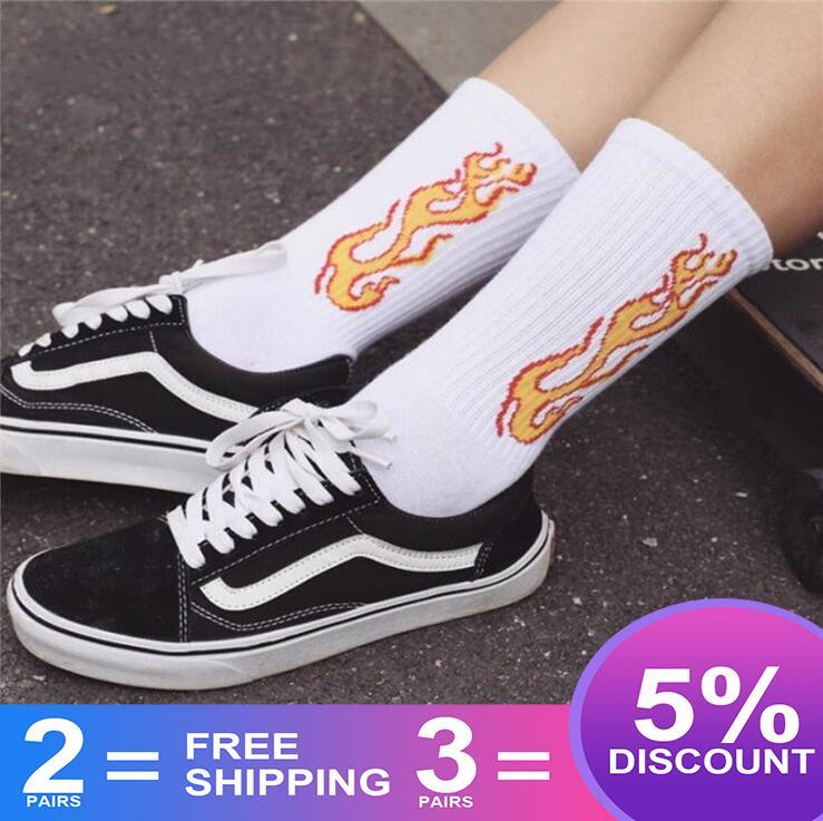 Men Fashion Flame Pattern Hip Hop Funny Man Socks Jacquard Harajuku Fire Socks Street Skateboard Cotton Socks Men Streetwear S-8