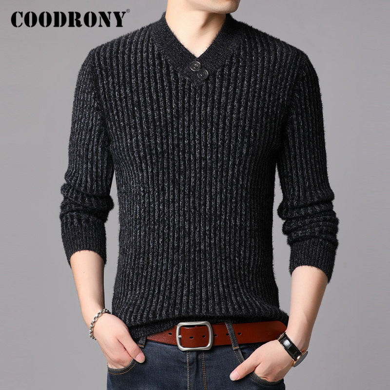 COODRONY Brand Winter Sweater Men Casual Button V-Neck Pull Homme Thick Warm Cotton Pullover Men Clothes Jersey Hombre Top 91123