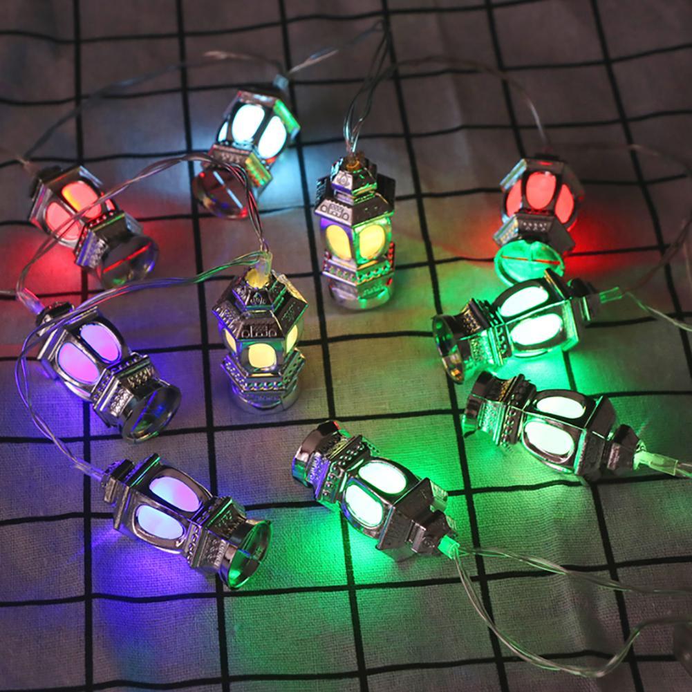 Oil Lantern Pendant Muslin Ramadan Decor Lamp Christmas Party LED String Light