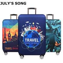 Плотный защитный чехол для багажа JULY'S SONG, защитный чехол для чемодана на колесиках, эластичный чехол для чемодана 18-32 дюйма