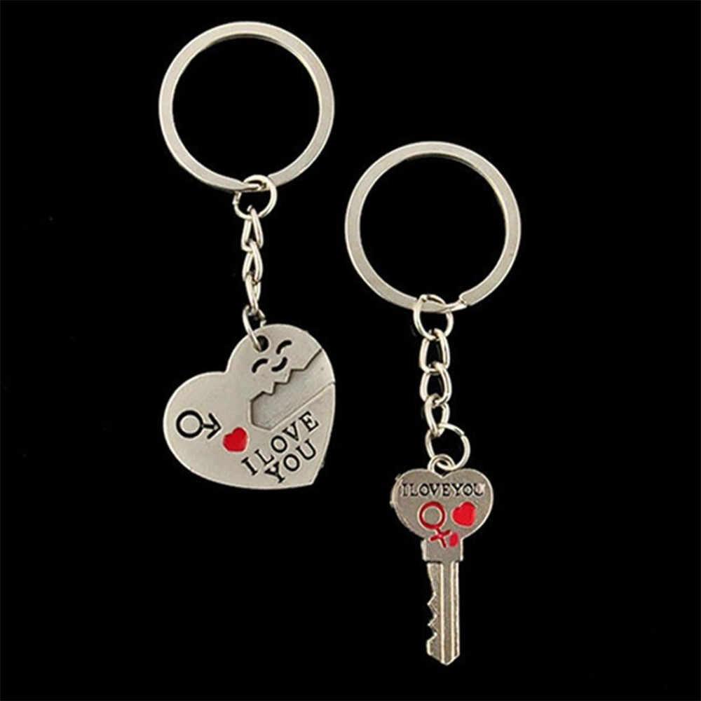 #30 ロマンチックなカップルキーホルダーキーリングキーフォブバレンタインデーの恋人のギフトハートキーセット私はあなたの手紙 2 個ネックレスキーホルダー
