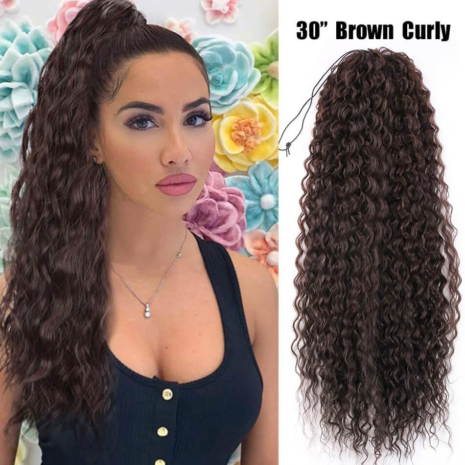 Длинный Кулисный хвост 30 дюймов, синтетические Кудрявые Волнистые черные прямые волосы с зажимом для конского хвоста, термостойкие волосы ...