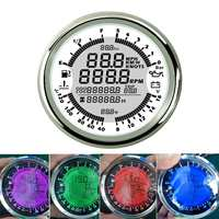 85mm 8 16V 6 in 1 Multifunction GPS Speedometer Pressure Gauge Tachometer Water Temp Fuel Level Pressure 7 Colors Auto changing