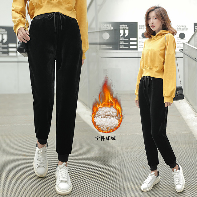 Autumn Winter Trousers Casual Elastic Waist Pocket Warm Harem Velvet Pants Fashion Solid Loose Pleuche Pants Women Pencil Pants