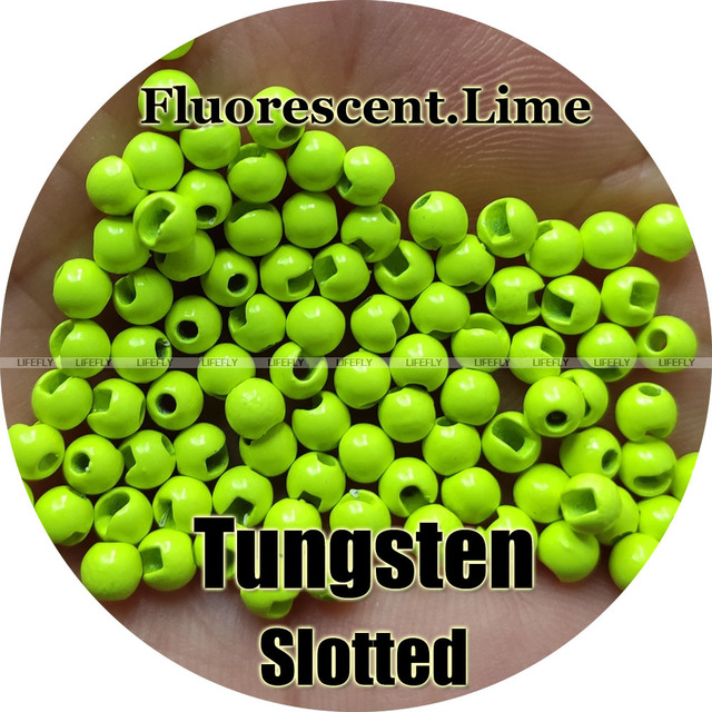 Fluorescent Lime Color, 100 Tungsten Beads, Slotted, Fly Tying, Fly Fishing