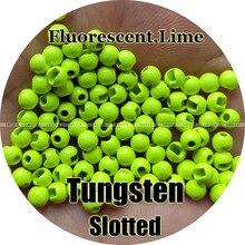 Fluorescente di Colore Lime, 100 di Tungsteno Perline, Intaglio, Fly Tying, Pesca A Mosca