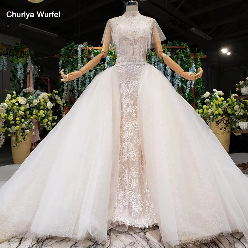 HTL961 Sexy Wedding Dresses Spaghetti Neck Beads Crystal Detachable Cape Ball Wedding Gowns With Detachable Train Brautkleid