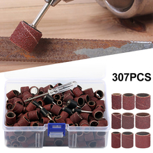 307pcs Drum Sanding Kit with 1/2 3/8 1/4 Inch Mandrels  Rotary Sandpaper Shank Tools Nail Drill Bits Abrasive