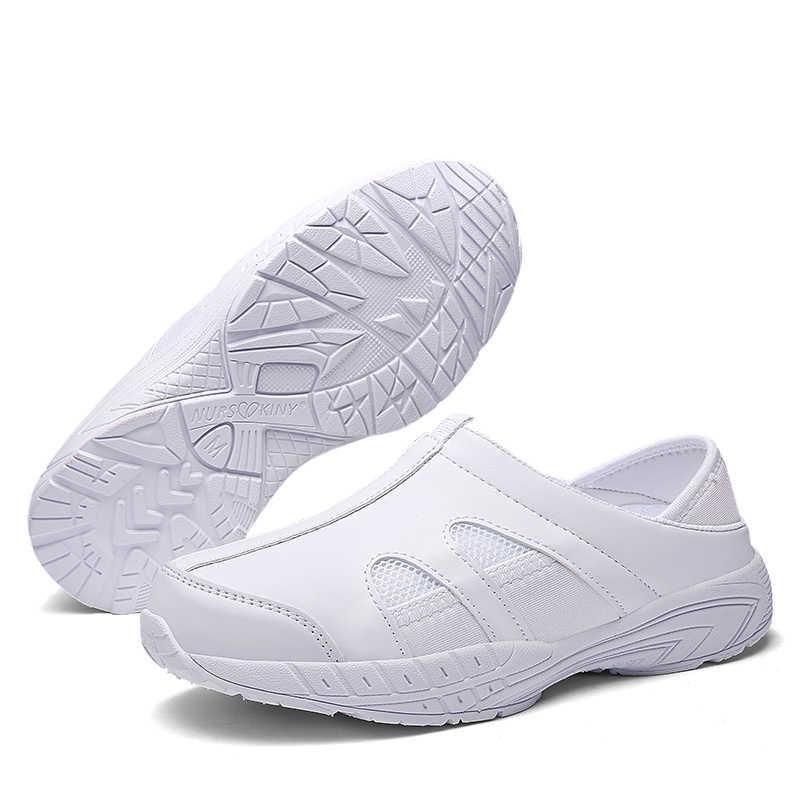ใหม่รองเท้าพยาบาลรองเท้าผู้หญิงในร่ม ultra light breathable ลื่นรองเท้าหนังนุ่มหญิงตั้งครรภ์รองเท้าทำงานรองเท้าแบน