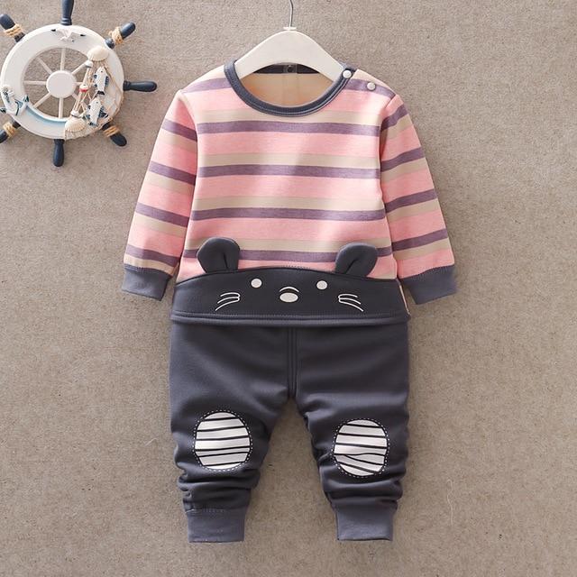 Baby Kids Pajamas Sets Boys Sleepwear Suit Autumn Winter Warm Girls Long Sleeve Pijamas Tops+Pants 2pcs Children Clothing 6