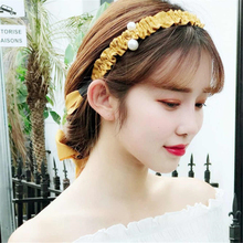 1 pcs Hot Sale Solid Color Bow Pearl Headband for Women Korea Hair Accessories Girls Band Adult Headdress Wholesale