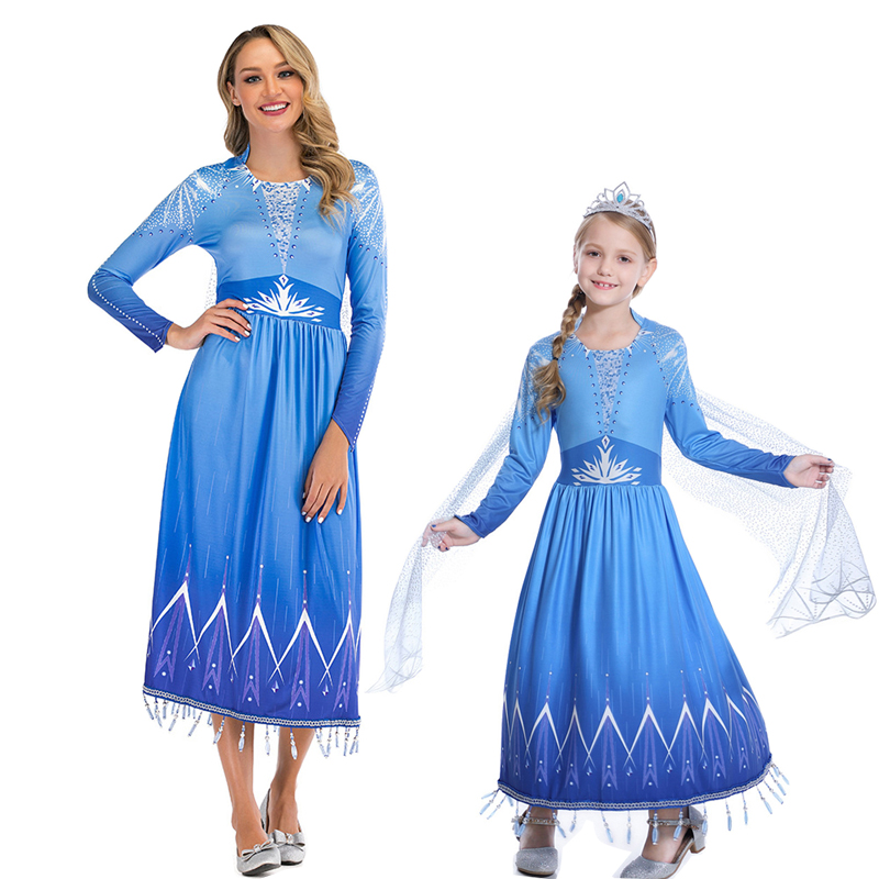 Elsa Costume Snow Queen Dress Princess Cosplay Halloween Costumes For Women Kids Christmas Carnival Party Dress Up