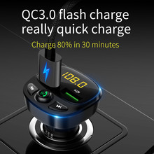 Auto Mp3 Speler Bluetooth 5.0 Fm-zender Modulator Handsfree Auto Accessoires Audio Fm Zender QC3.0 Fast Charger