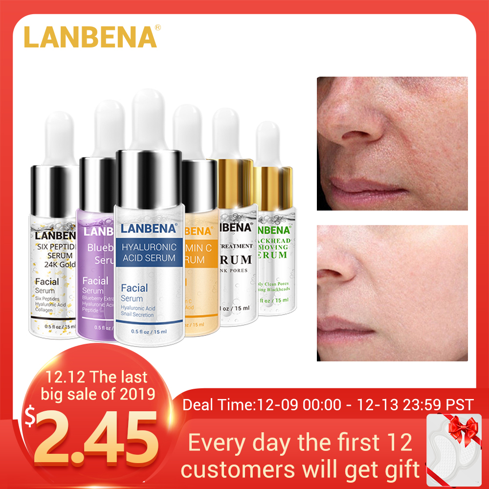 LANBENA Serum Hyaluronic Acid Vitamina C Whitening Skin Care Moisturizing 24K Gold Anti Aging Acne Treatment Essence Retinol