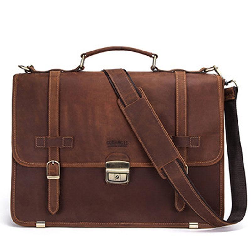 Мужская сумка из натуральной кожи, портфель, Офисные Сумки для мужчин, кожаная сумка для ноутбука, сумки на плечо, модные мужские роскошные