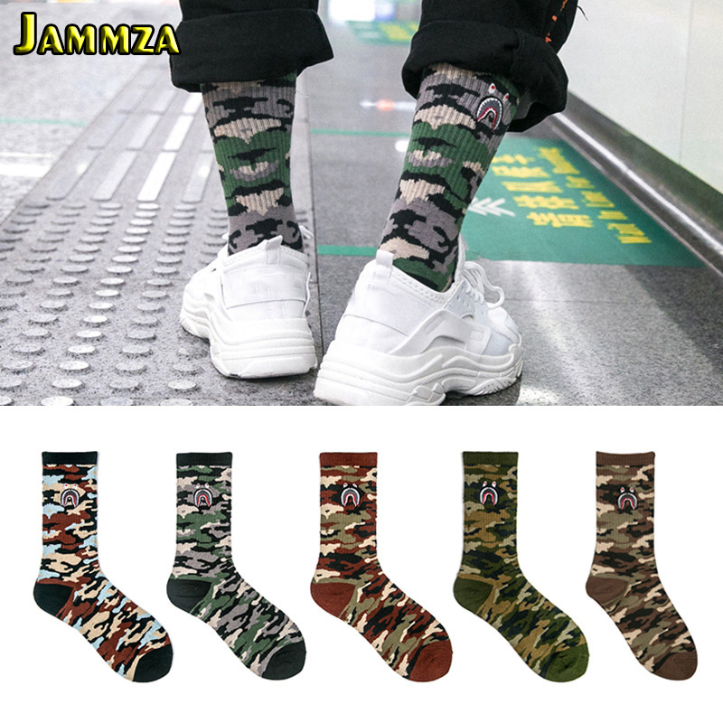 Men Brand Street Fashion Socks Camouflage Women Hiphop Korea Skateboard Sokken Cotton Elasticity Sporty Wear Outside Long Socks