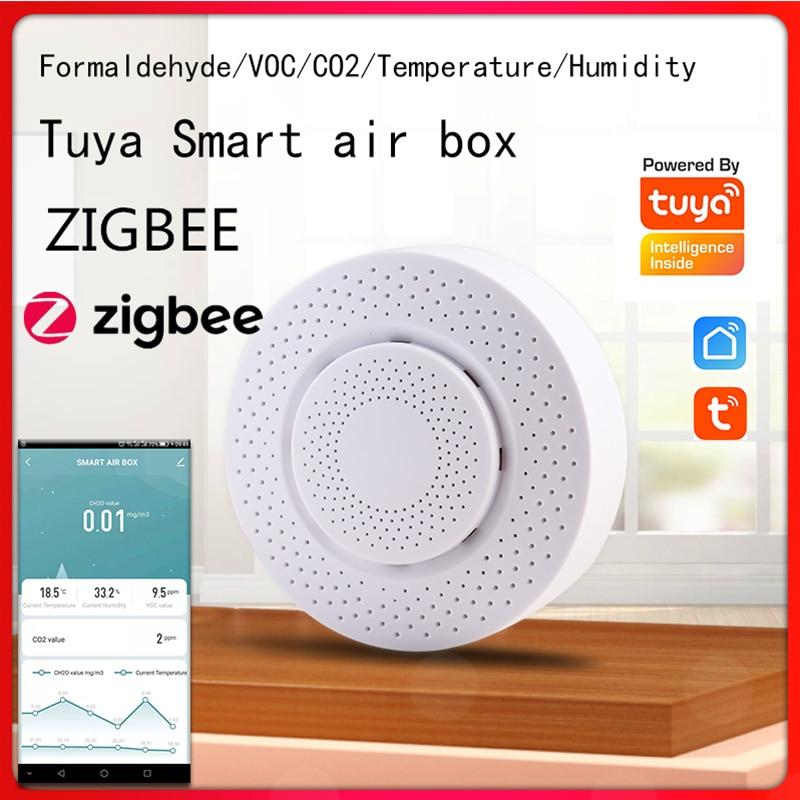 Детектор ОЛОС Tuya ZIGBEE CO2 Hcho, детектор формальдегида, углекислого газа, датчик контроля воздуха, домашний автоматический детектор сигнализаци...