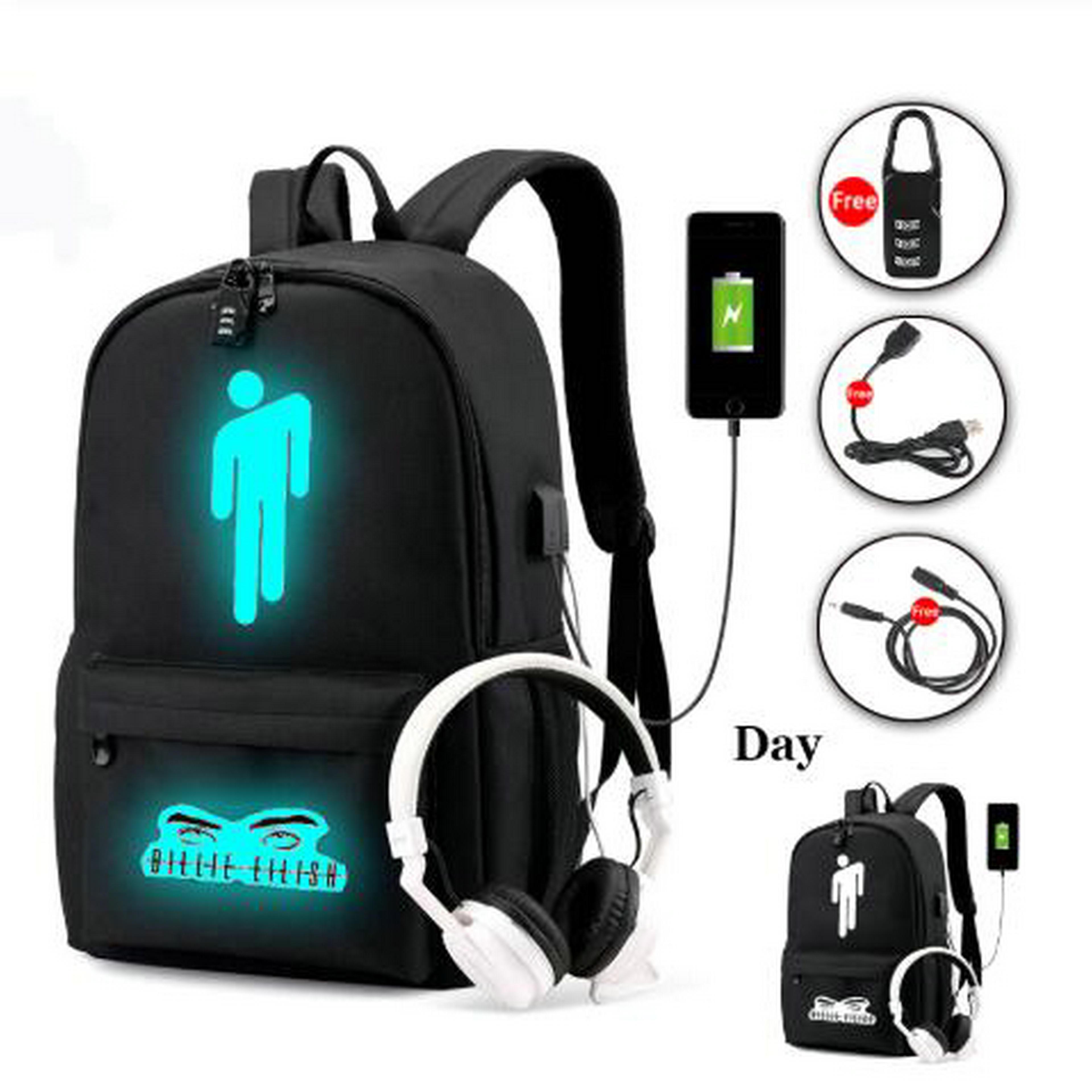Pop Singer Billie Eilish Backpack For Teenage Boys Girls Luminous School Bag USB Charging Anti Theft Waterproof Laptop Backpack