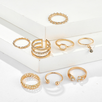 Tocona 8pcs/sets Bohemian Geometric Rings Sets Clear Crystal Stone Gold Chain Opening Rings for Women Jewelry Accessories 9012 5