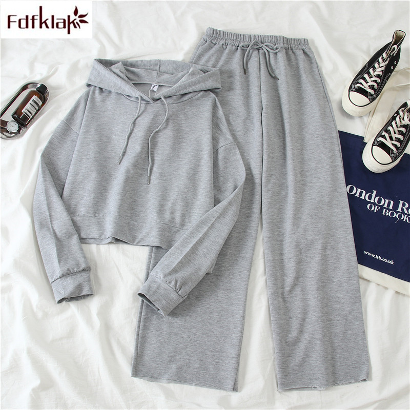 Fdfklak Two Piece Set New Spring Autumn Tracksuit Women Hoodies Sweatshirt And Wide Leg Pant Casual Sportswear Student's Suit