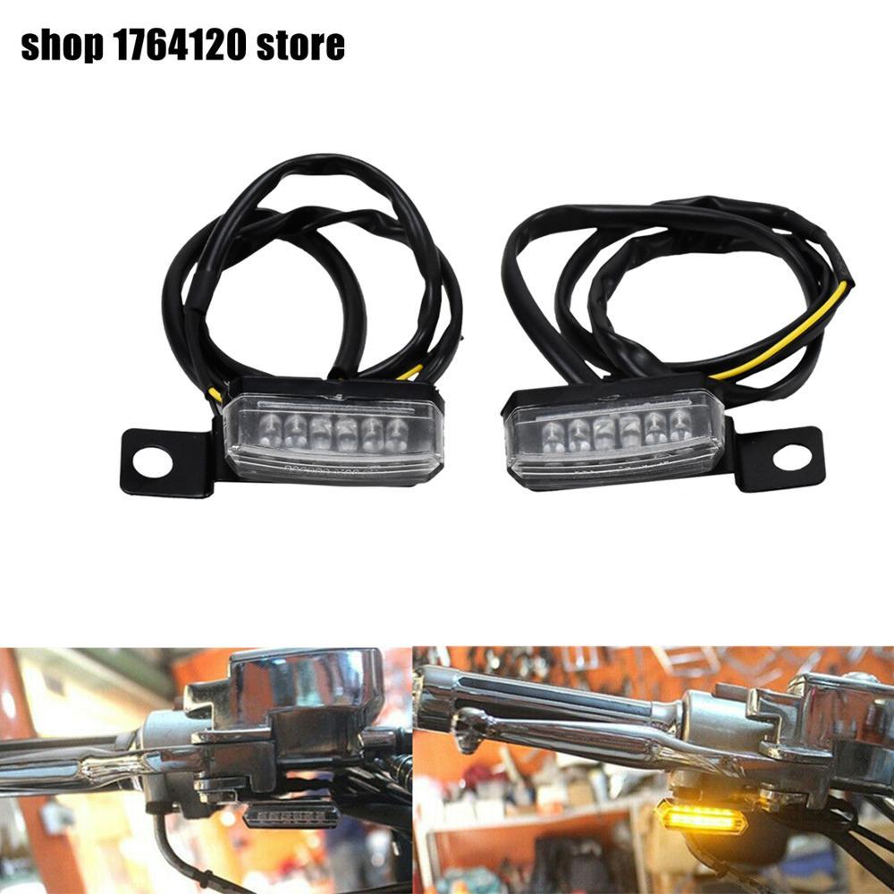 2pcs Motorcycle Front Rear LED Mini Turn Signal Light Blinker Light EM Indicators Light For Harley Sportster Dyna Custom Model