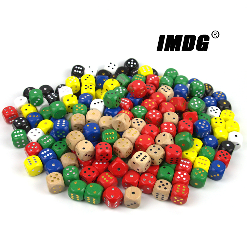10pcs/pack Wood Dice 20mm Colorful Solid Wooden Gold Black Dot Game Rounded Dice Drinking Mahjong Dice