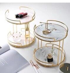 Bandeja de tocador nórdica, bandeja de almacenamiento de cosméticos de doble cubierta, mesa de tocador creativa, escritorio con soportes laterales, estante de acabado de princesa, bandeja de joyería