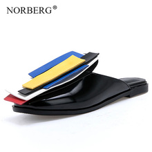 NORBERG woman slippers summer geometric sandals fashion flip flops home shoes black flat ladies casual
