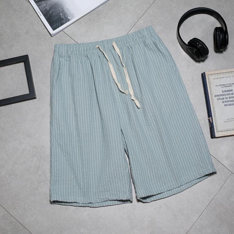 Мужские повседневные шорты из хлопка и пеньки, простые модные пляжные шорты в Вертикальную Полоску, 2020
