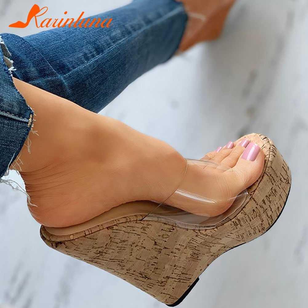 Karinluna seksi süper yüksek topuklu büyük boy 42 platformu takozlar Sandal katır terlik ayakkabı kadınlar