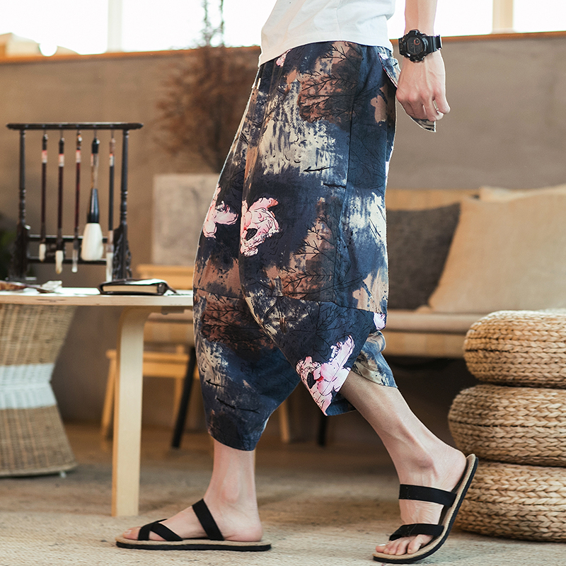 2020 Men Traditional Style Summer Big Size Casual Calf-Length Pants Korean Style Cotton Printed Loose Male Trouser Streetwear