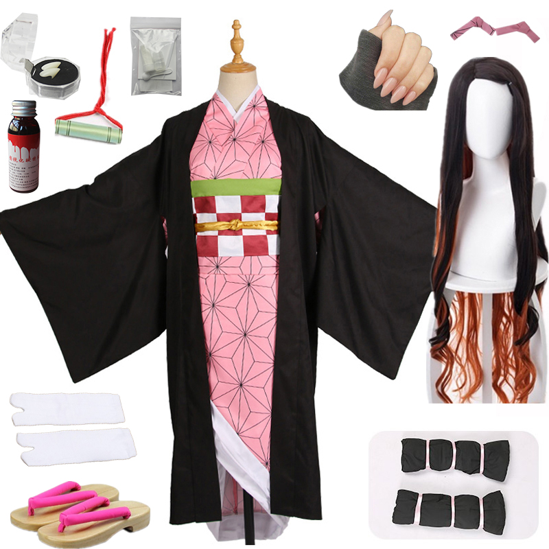 Hot New Anime Demon Slayer: Kimetsu No Yaiba Cosplay Kamado Nezuko Woman Japanese Clothes Cosplay Costume Wigs