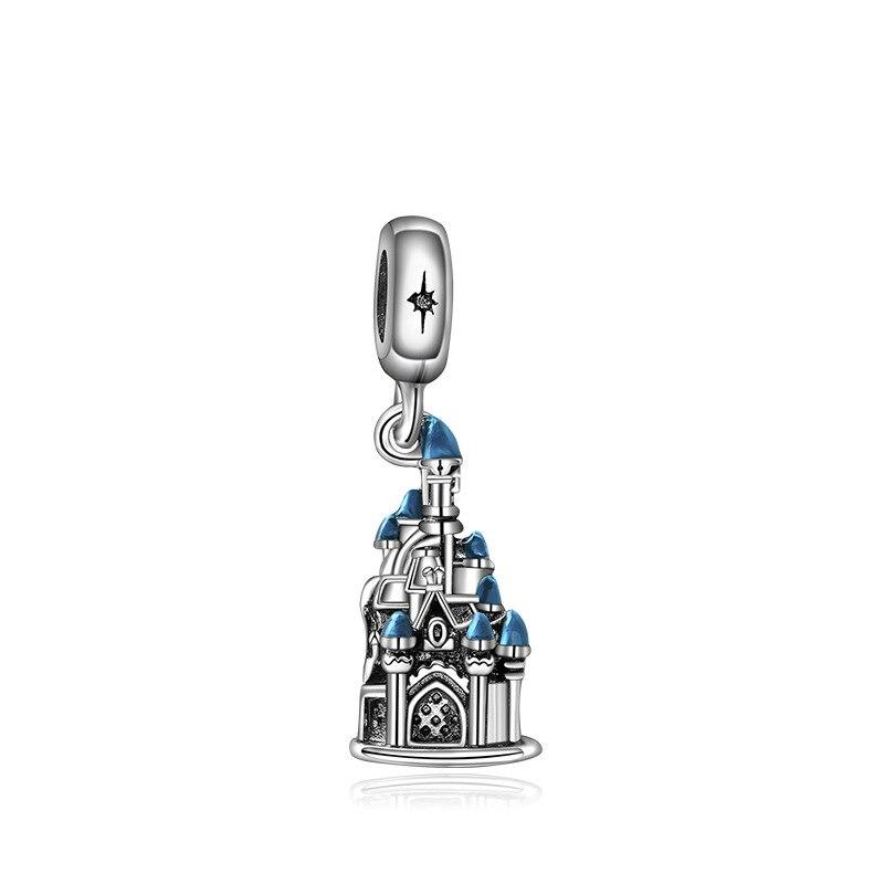 Новинка, сплав, шарик Микки и Минни, сказочный Дамбо, любовь, шарм, подходит для Пандоры, браслет, ожерелье, сделай сам, Женские Ювелирные изделия - Цвет: Blue Castle