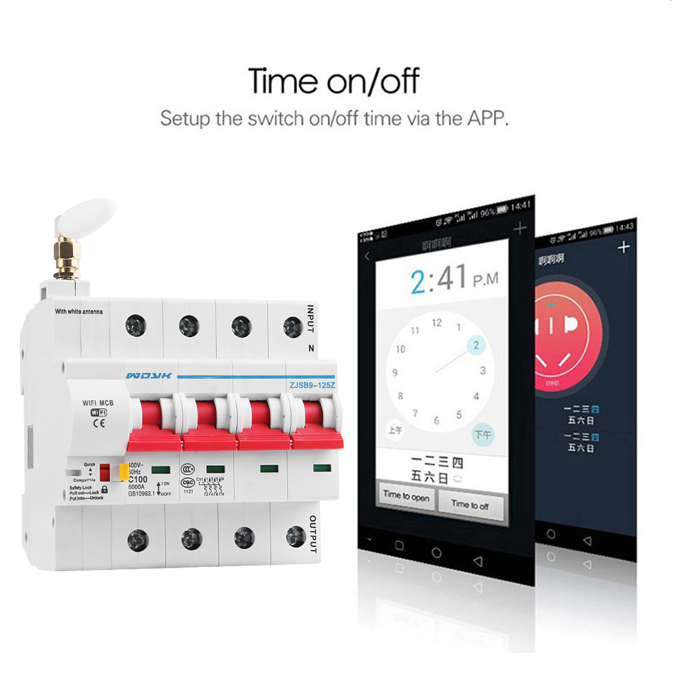 eWelink app 4P WiFi Smart Circuit Breaker overload short circuit protection with  Alexa google home for Smart Home 5