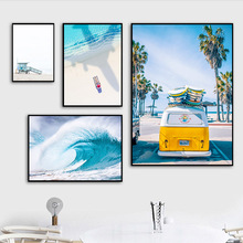 Posters Art-Painting Wall-Pictures Living-Room-Decor No-Frame Canvas California Beach-Ocean