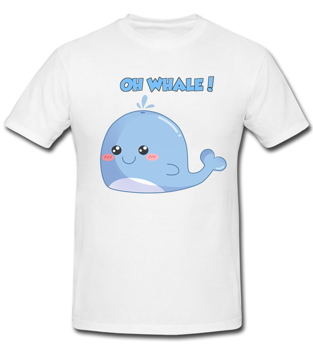 Cute Funny Pun Joke Oh Whale Graphic T Tee Shirt Fitness Tee Shirt image