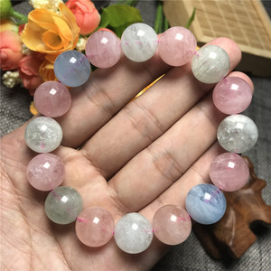 Image 5 - 14mm Natural Colorful Morganite Bracelet For Women Clear Round Beads Gemstone Love Stone Gemstone Bracelet Fashion Jewelry AAAAA
