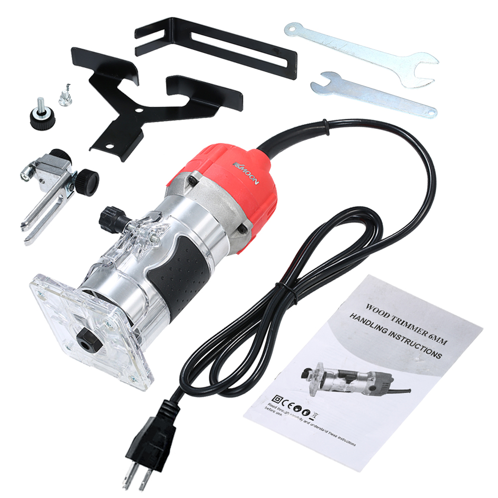 110V 800W Trim Router Woodworking Tools Trimming Slotting Notching Wood Laminate Electric Trimmer Compact Palm Router Corded