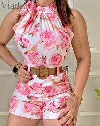Женская летняя обувь с цветочным принтом безрукавный комбинезон с принтом для женщин комбинезон женский комбинезон