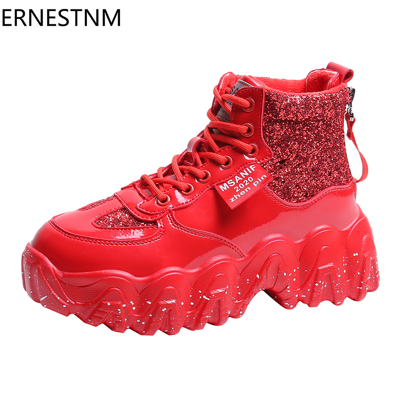 ERNESTNM Wedges Shoes For Women Bling Sequined Cloth Red Womens Shoes Of Spring/Autumn 2020 High Top Sneakers Sapatos De Mujer