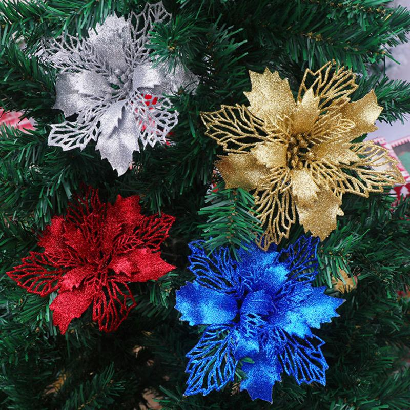 5p/1P Artificial Christmas Flower Glitter Fake Flowers Merry Christmas Tree Decoration Home DIY Xmas Gifts Ornament Navidad 2021