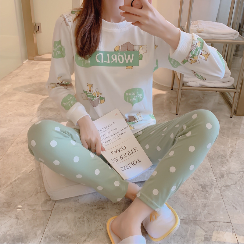 Pajamas Women's Spring And Autumn Long Sleeve Pure Cotton Cute Little Squirrel Set Korean-style Students Sweet Princess Style Ho