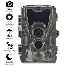 Goujxcy HC801 트레일 카메라 16mp 1080p 노 글로우 940nm 적외선 LED 사냥 카메라 나이트 비전 사진 트랩 방수 카메라 스카우트