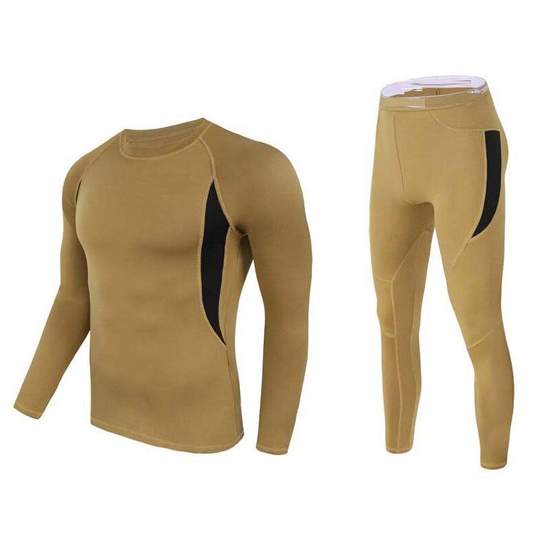 2-piece set Men Thermal underwear winter long johns Fleece Tracksuit Compress Warm base layer Fitness jogging suit Men Thermal